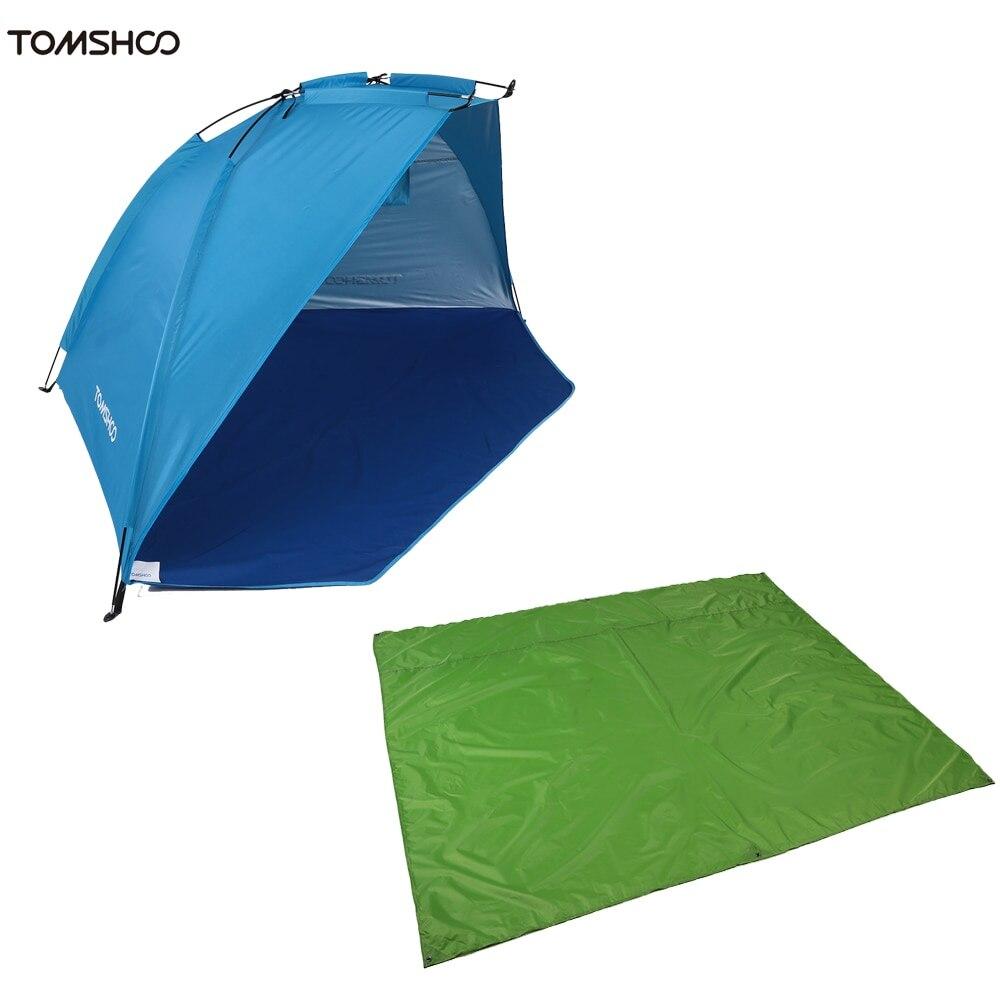 TOMSHOO tapis de plage extérieur Kit de tente Protection UV tente d'été + Camping tapis de couchage jardin résistant à l'humidité pique-nique herbe couverture
