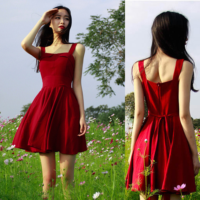 122a2b7e782 Vestidos femininas cheap clothes in china sundress casual red Hepburn dress  50s 60s Audrey Hepburn vintage