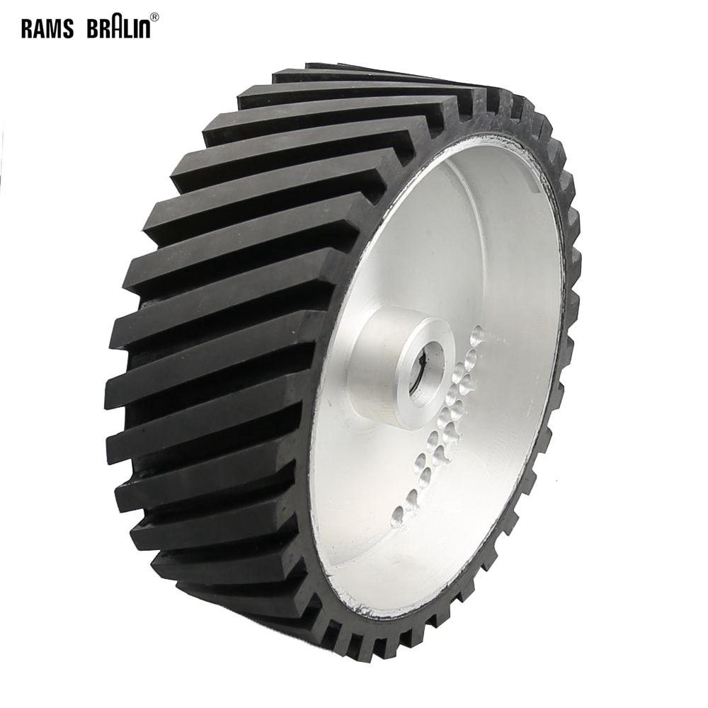 250*100mm Grooved Rubber Contact Polishing Wheel Belt Sander Grinder Polisher Wheel Dynamically Balanced цена
