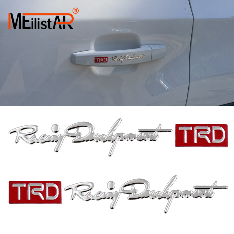 2x Car Styling Trd Car Sticker Reflective Auto Car Handle Door Knob Sticker Decal For Toyota Highlander Camry CHR YARiS L Crown