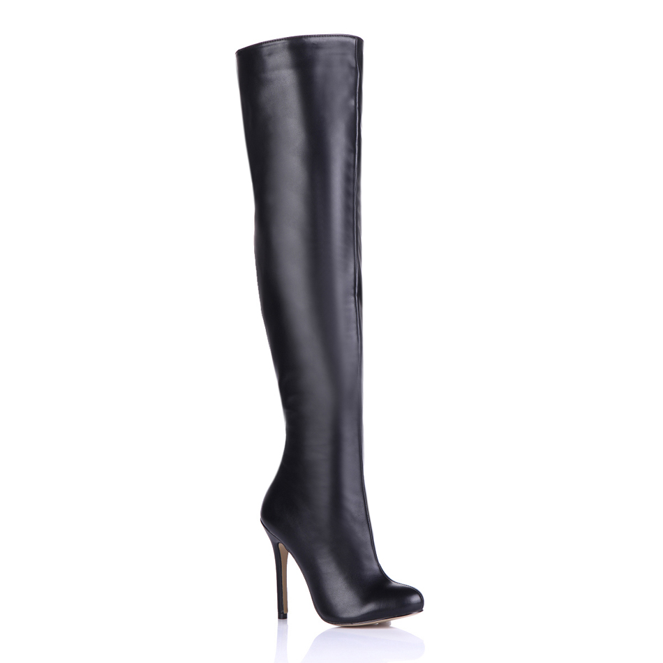 2016 Winter Black Sexy Party Shoes Women Round Toe Stiletto High Heels Concise Lady Over-the-Knee Boots Zapatos Mujer 0640CBT-S1