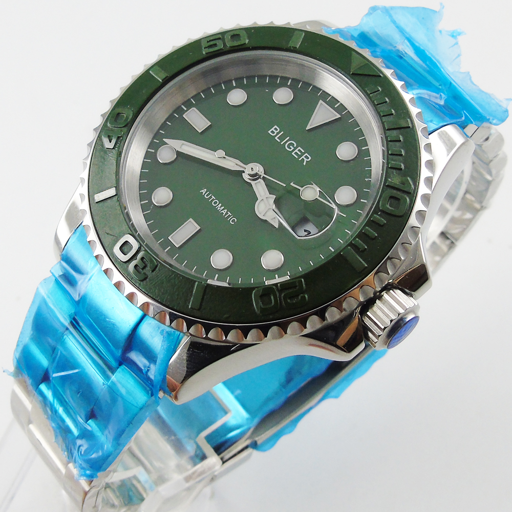 лучшая цена Bliger 40mm green dial date green Ceramics Bezel luminous saphire glass Automatic movement Men's watch