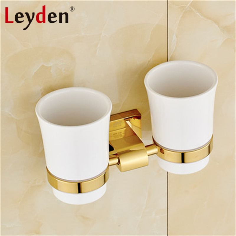 Leyden Luxury Golden/ Chrome Double Toothbrush Holder with Ceramic Cup Wall Mounted Brass Toothbrush Hanger Bathroom Accessories leyden new brass oil rubbed bronze double toothbrush tumbler holder wall mounted toothbrush holder with cup bathroom accessories