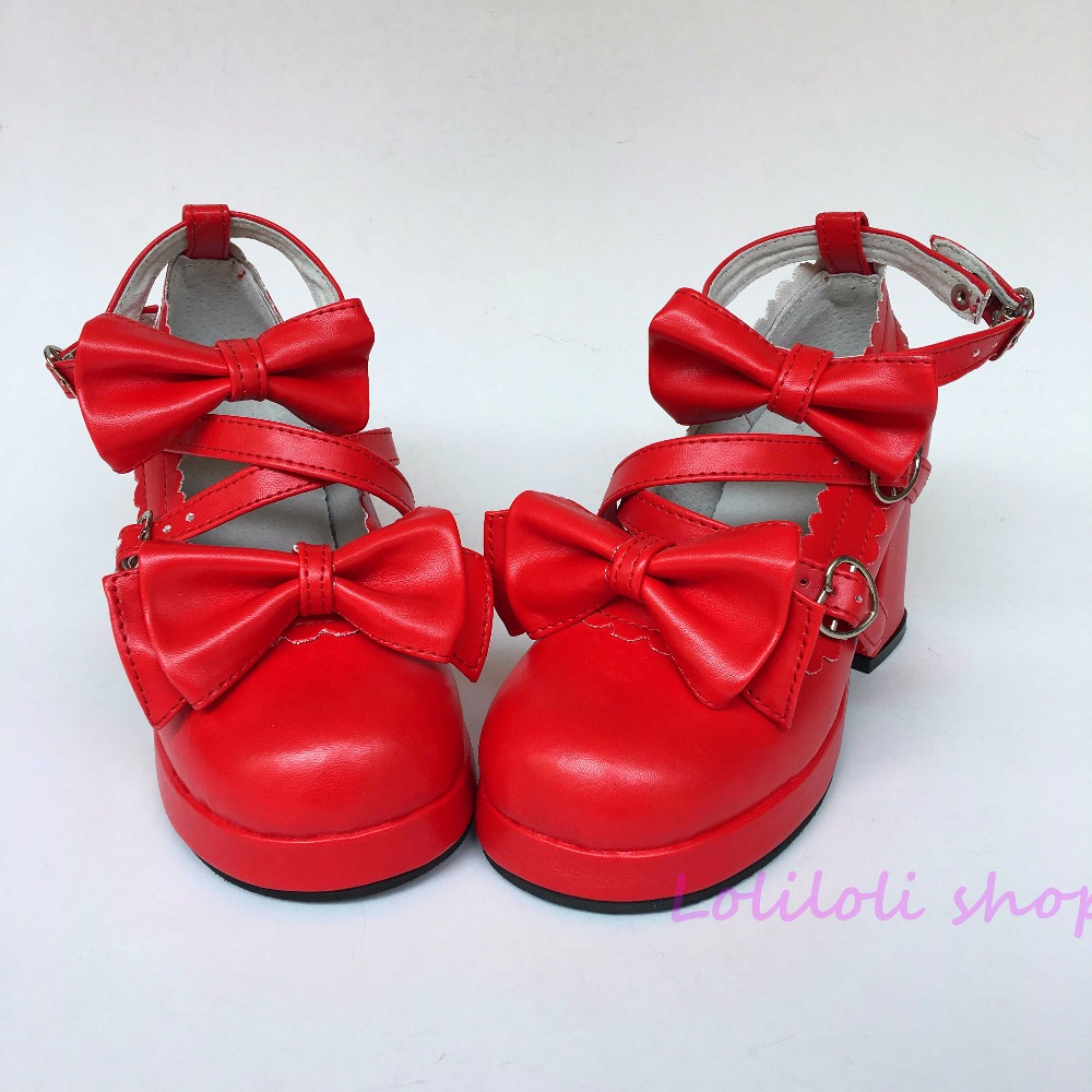 Princess sweet lolita shoes Lolita style Japanese design customized shoes red bow special shaped buckle square root shoes an9812