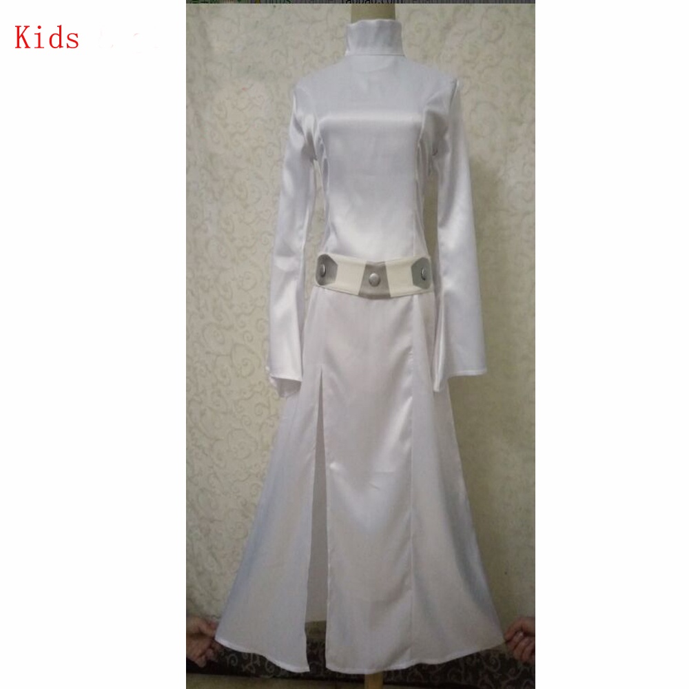 STAR WARS Alderaan Princess Leia Organa Solo Dress Belt Costume girls Cosplay Thin Dresses Halloween Cosplay