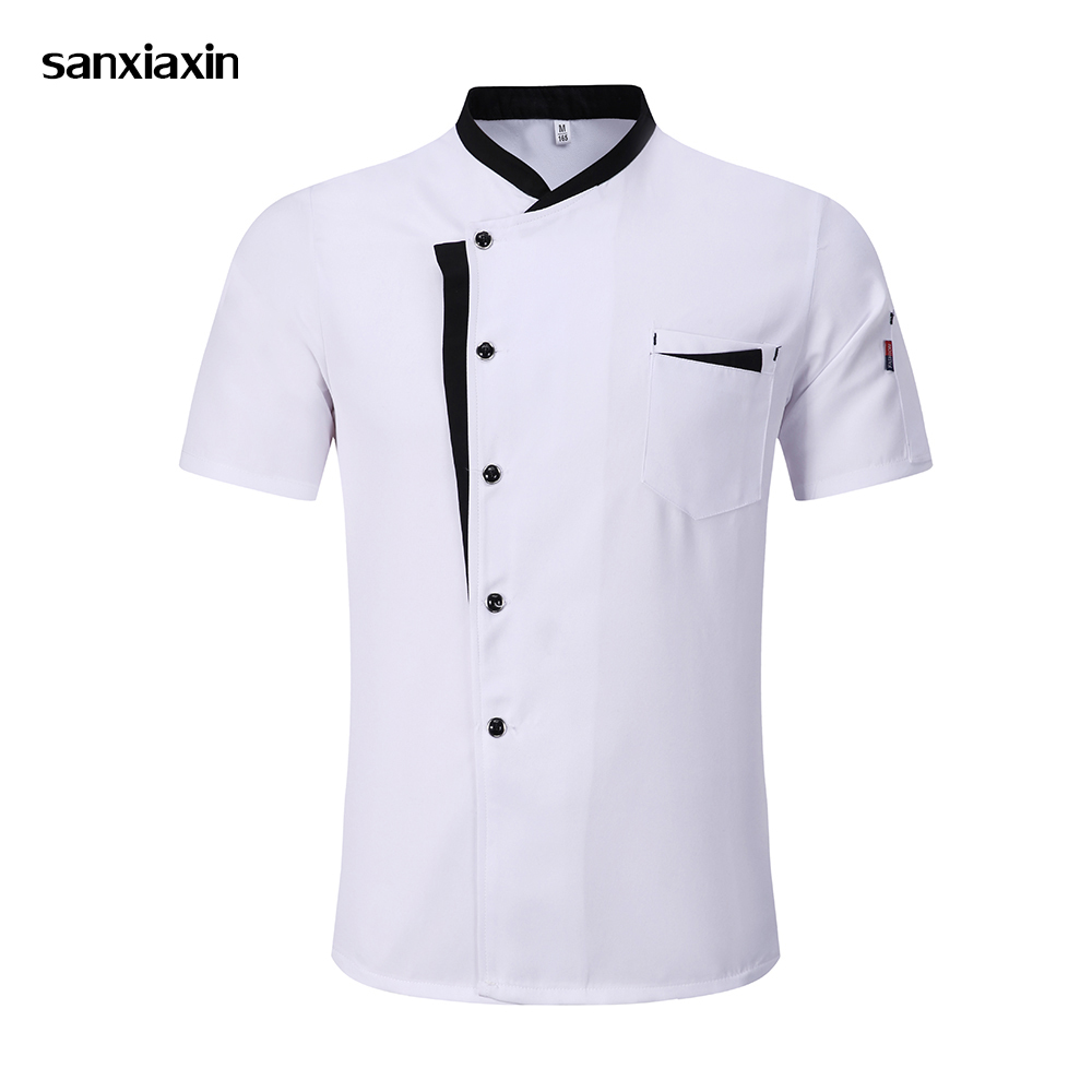 Unisex Chef Jacket Hotel Chef's Uniform Short Sleeve Mesh Breathable Workwear Catering Restaurant Kitchen Bakery Wholesale New