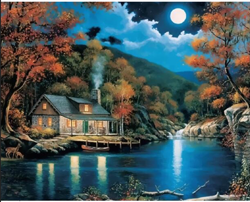 Full circular painting by numbers landscape wall decor picture on canvas river moon oil paint coloring by number drawing