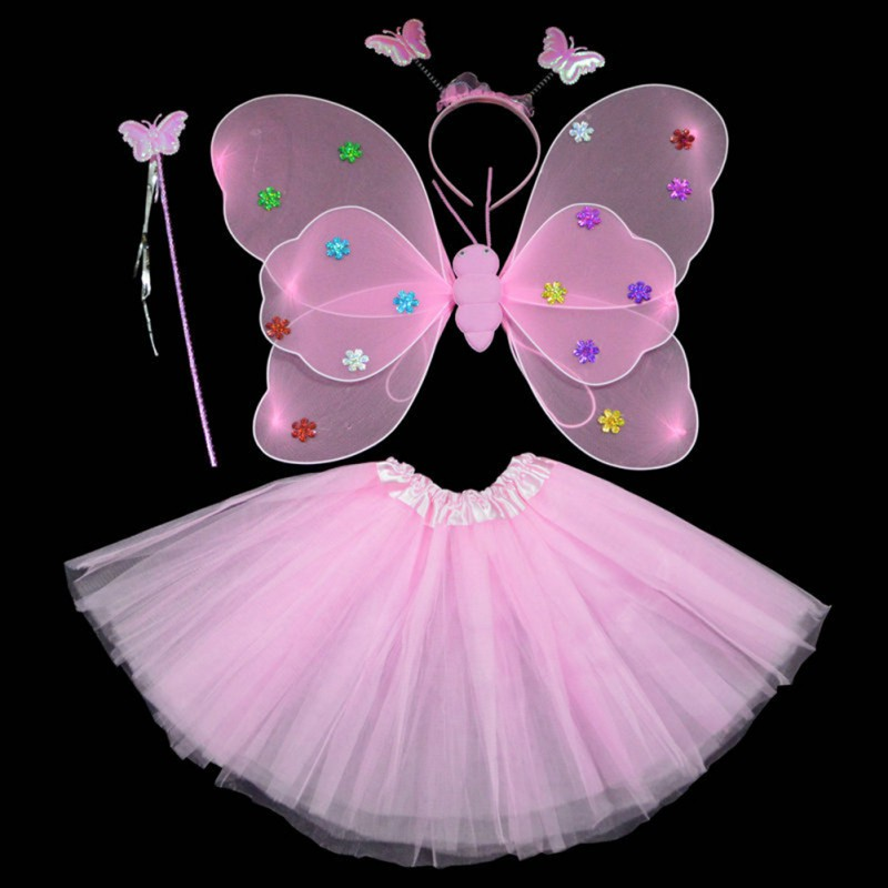 Party Dance Costumes Cosplay Fairy Princess Kids Butterfly Wings +Wand+Headband+Tutu Skirt