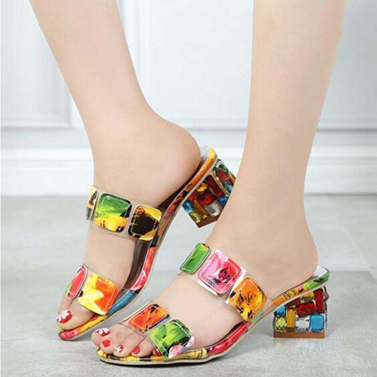 f4ef39464 Women Sandals Ladies Summer Slippers Shoes Women high Heels Sandals Fashion  Rhinestone summer shoes new ALF19