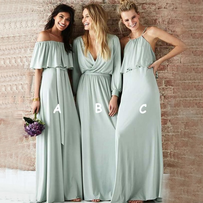 Cheap Sage Long Long 2019   Bridesmaid     Dresses   Mint Green Chiffon Boho Country Wedding Party   Dress   vestidos de fiesta de noche