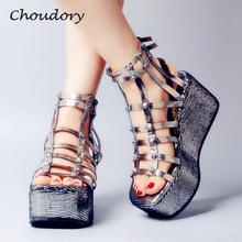 Choudory Sandalias Mujer Thick Bottom Wedges Heels Woman Sandals Glitter Woman Shoes Party Dress Studded Rivet Zapatos Mujer