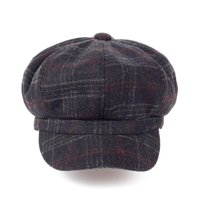 2017 Fashion Octagonal Cap Newsboy Beret Hat Autumn Winter Hats For Men s  Coffee Color Unisex Cool Plaid Casual Hat Beret Cap 8fef02336d65