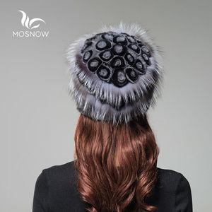 Image 3 - 女性の本物のミンクの毛皮の帽子女性の冬のレックスウサギローズ花エレガントな高級 2019 ウォームニット帽子 skullies ビーニー