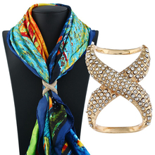 Women Shawl Ring Clip Scarves Fastener Crystal Silk Scarf Buckle Brooc