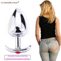 Metal Anal Plug with Corlor Jeweled 3 Style S/M/L Steel Butt Plug for Women Men Sex Anal Toys Wearing Outdoor All Day Beginner