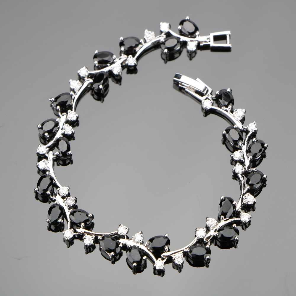 Silver 925 Jewelry Charms Bracelets For Women Decorating Wedding Jewelery With Black Zircon White Stones Free Gift Box