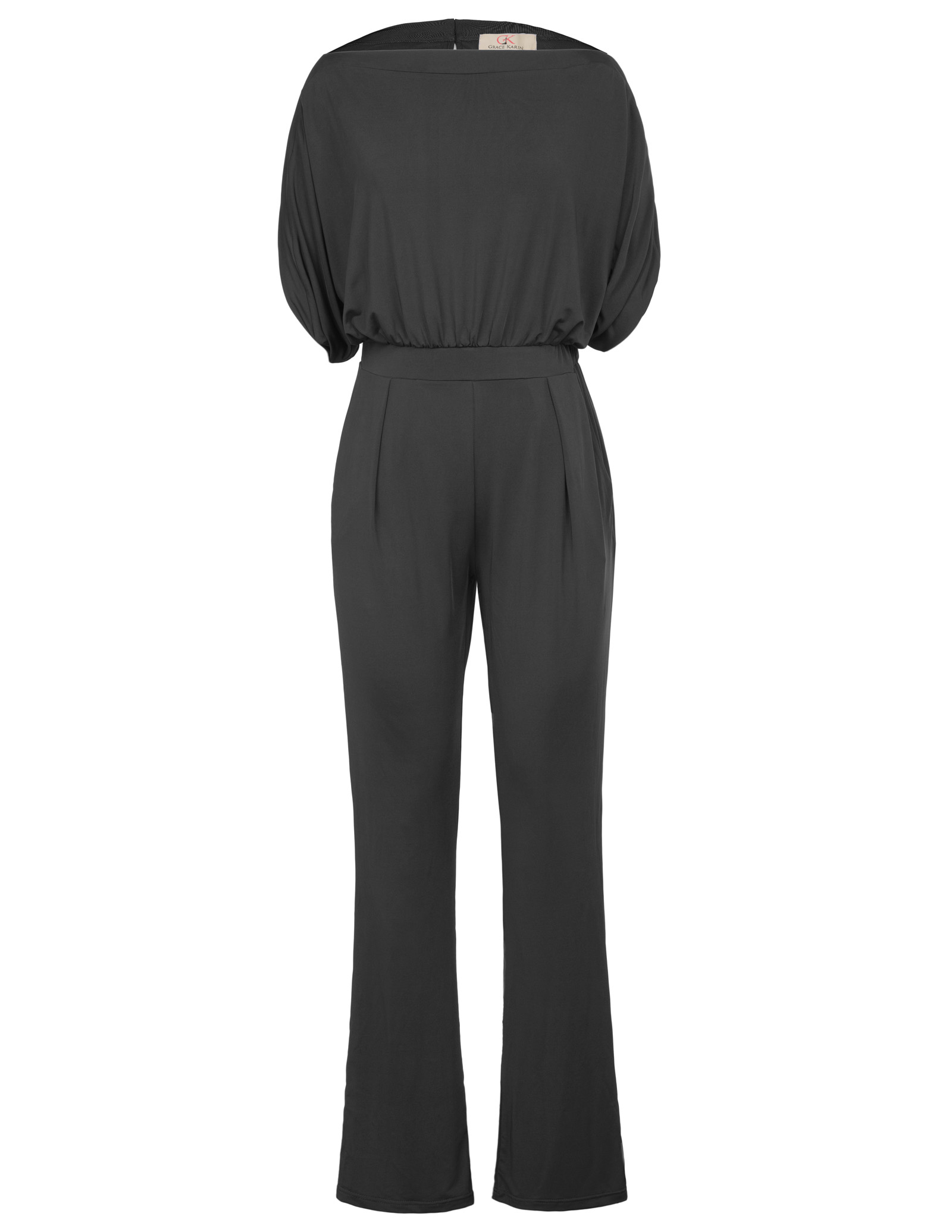 2018 Summer Women Sexy Short Sleeve Straight Neck Jumpsuit Ladies Casual Work Solid Boot Cut Design Fashion Female Jumper Romper