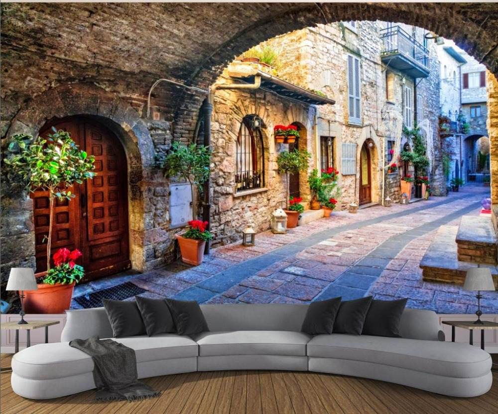 online get cheap street bedding aliexpress com alibaba group custom wall papers home decor 3d mural town street view backdrop simple fashion large mural 3d