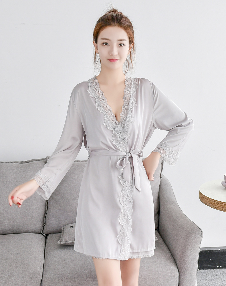 ad44eadde8 2019 Sexy Ladies  Lace Satin Silk Robe Gown Solid Soft Nightgown ...