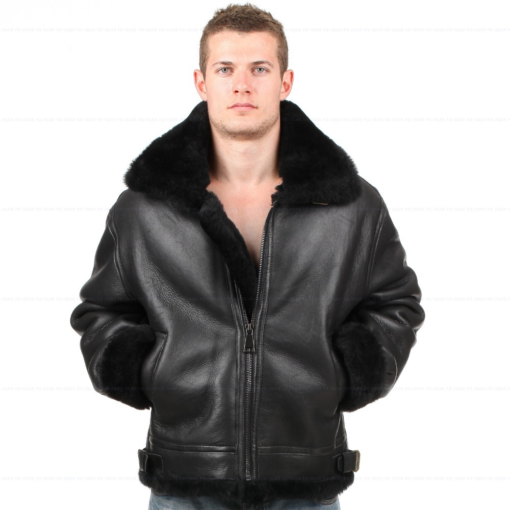 Classic b-3 sheepskin leather bomber jacket
