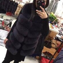 Jancoco Max 2017 Real Fur Vest Women Winter Soft Fox Fur Coat Lady Fashion Gilet S1671