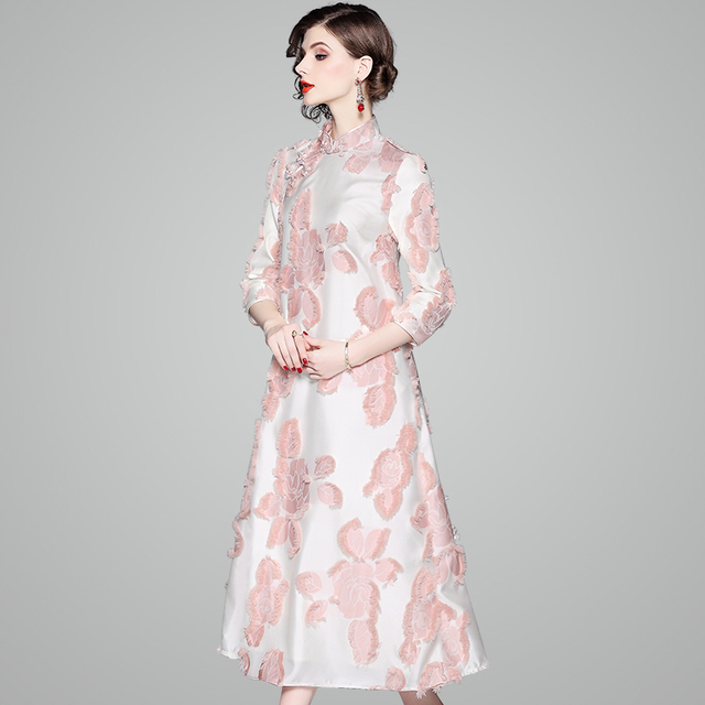 2018 new spring women floral Loose Dress fashion clothing sexy Chinese  Style Lace Party dress Vintage office work dresses autumn 8316543addff