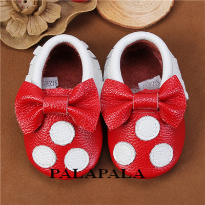 2016 New genuine leather baby moccasins shoes with bow-tie lovely baby girl polka dot shoes fashion indoor shoes first walker