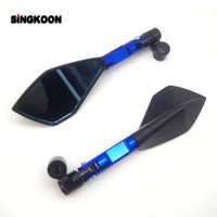 CNC Aluminum Motorcycle Rearview Mirrors Blue Glass Motorcycle Side Mirror FOR honda hornet 900 can am gsx s750 suzuki v strom