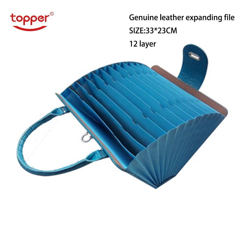 Orgue en cuir 12 poches portefeuille en expansion classeur A4 organisateur Portable fichier d'affaires papier fournitures de bureau porte document