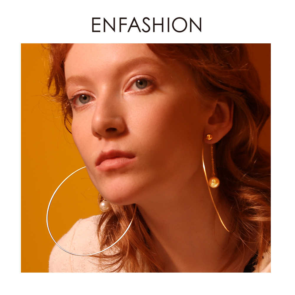 Enfashion Ball Pearl Hoop Earrings Circle Hoops For Women Earring Big Round Earings Fashion Jewelry Oorringen Bijoux EB181050