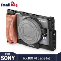 SmallRig DSLR Camera Cage for Sony RX100 VI Camera W/ Wood Handle Grip for Sony rx100 m6 for Monitor Microphone attachment