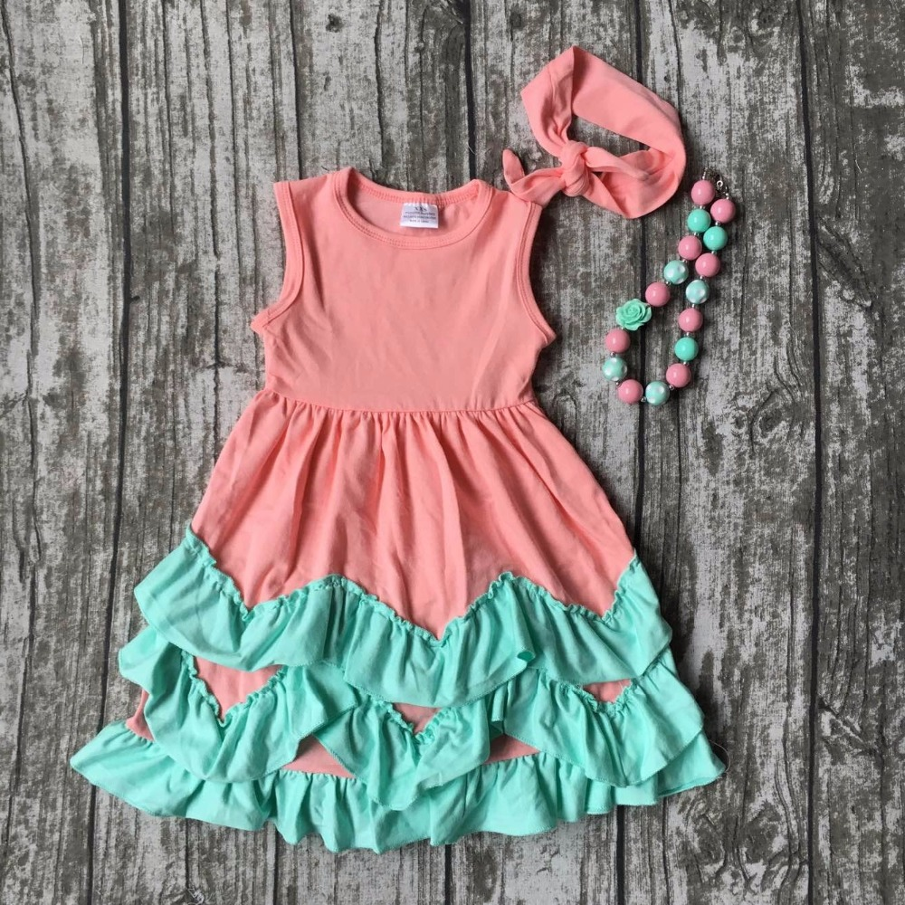 new baby clothes girls summer hot sell sleeveless princess dress coral mint kids boutique outfits ruffles matching accessories 2pcs ruffles newborn baby clothes 2017 summer princess girls floral dress tops baby bloomers shorts bottom outfits sunsuit 0 24m