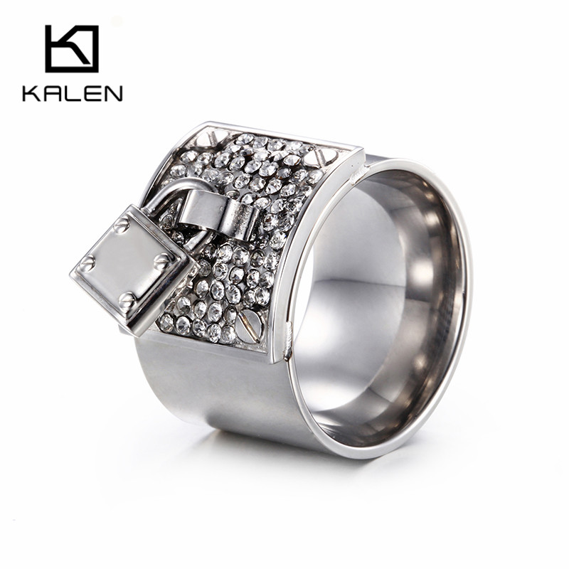 Kalen New Design Beautiful Rings Stainless Steel Full Clear ...