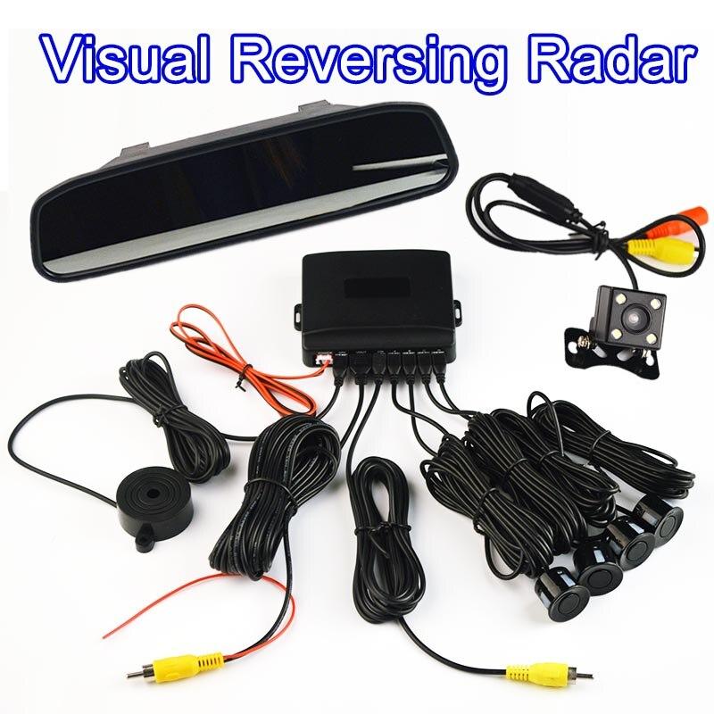 Câmera + Espelho retrovisor 4 Sensores Buzzer 22mm Visual Invertendo Radar Sistema de Alerta de Som Do Carro Assistência de Estacionamento Monitor de Auto