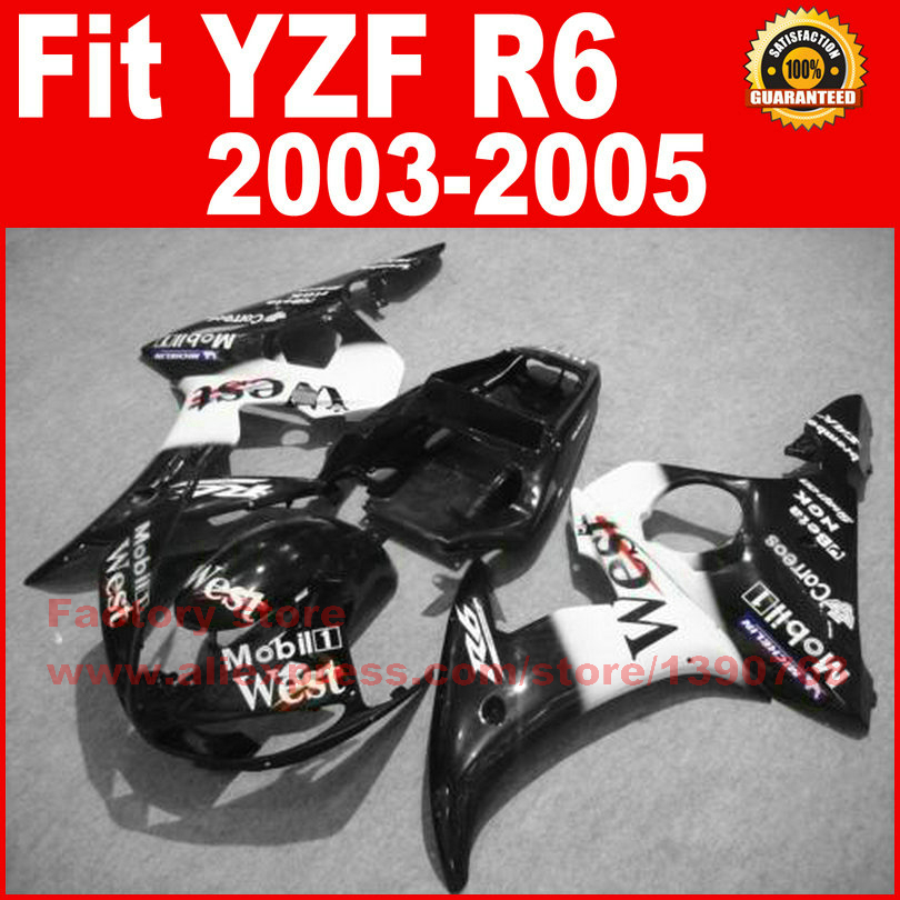 ABS Road/racing motor fairings kit for YAMAHA R6 2003 2004 2005 YZF R6 03 04 05 black west moto fairing kits bodykit part auldey 88010 abs racing car kit