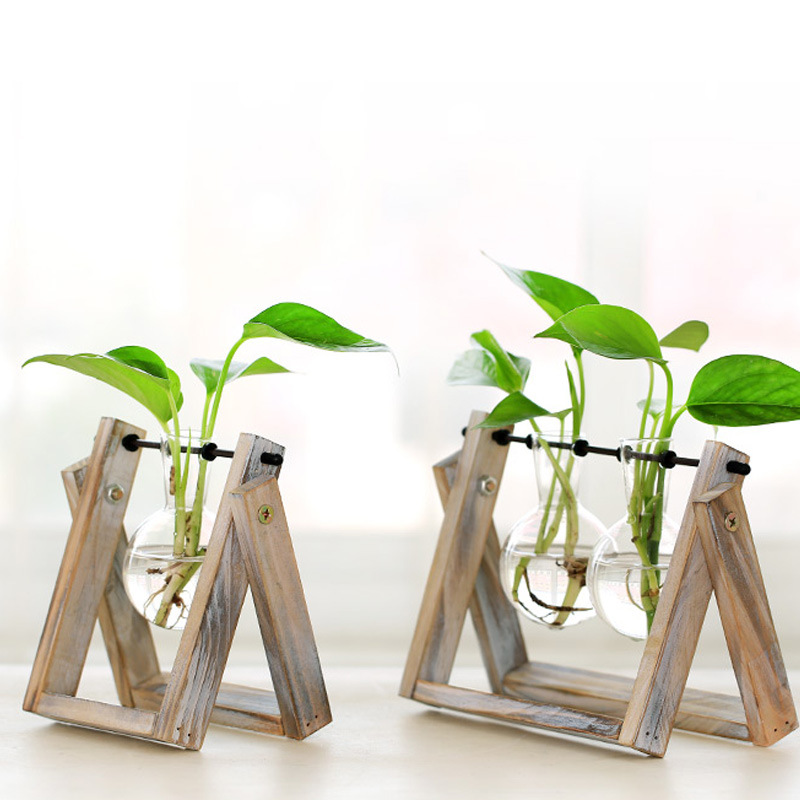 Creative style glass tabletop plant bonsai flower wedding decorative creative style glass tabletop plant bonsai flower wedding decorative vase with wooden tray home decoration accessories in artificial plants from home junglespirit Images