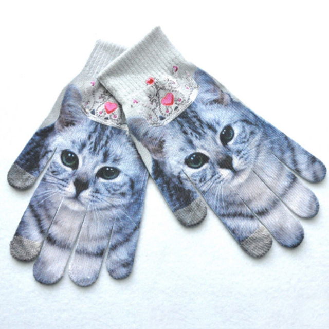 New Arrival Adult 3D Animal Print Wrist Gloves Winter Warm Touch Screen Gloves Full Finger Xmas Mitten Gift Accessories