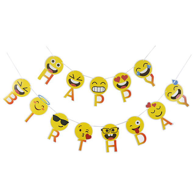 1 Set Smiley Face Emoji Happy Birthday Letters Banners Expression Paperboard Hanging Buntings Party Decoration
