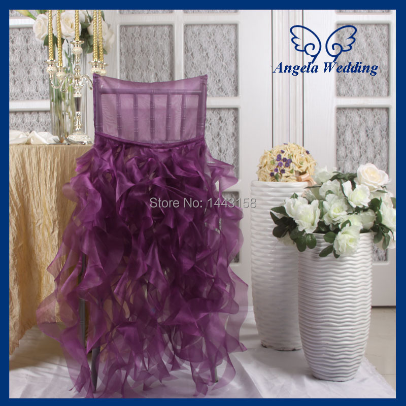 ch007e wholesale fancy 100 polyester wedding double ruffles curly willow organza purple chair cover