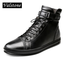 Valstone Men's High Top Genuine Leather boots Winter warm snow boots Superior Cow leather Hook & Loop Casual shoes Plus sizes 48