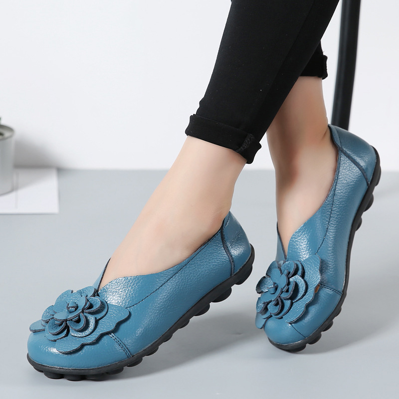 women shoes Fashion 2018 new arrival 11 colors flower ladies shoes genuine leather flat shoes slip-on loafers plus size 35-44 new vintage genuine cow leather women flats fashion round toe slip on women leather loafers ladies casual flat shoes size 35 43