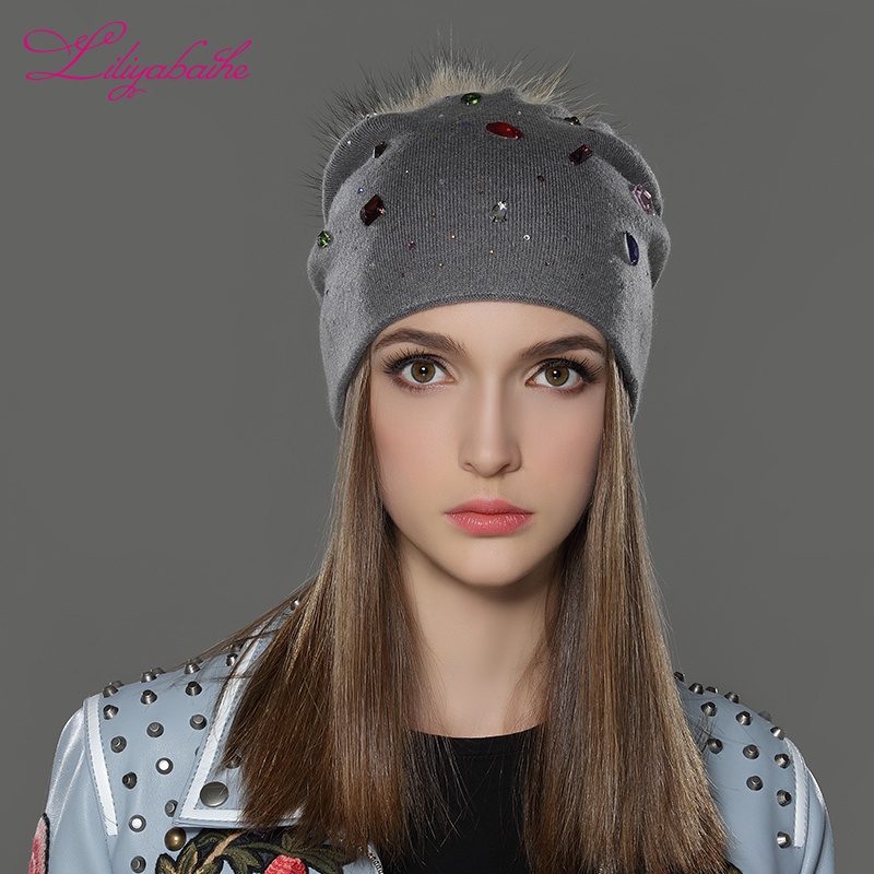 ae29078661e Aliexpress.com   Buy LILIYABAIHE Women Winter Hat wool Knitted Beanies Cap  Real Raccoon Fur Pom Pom Hats Classic color diamond decoration decoration  from ...