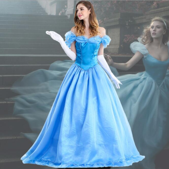 Deluxe Adult Cinderella Costume Women Fancy Dress Ball Gown Halloween Princess Costume Role Play Carnival Sexy Party