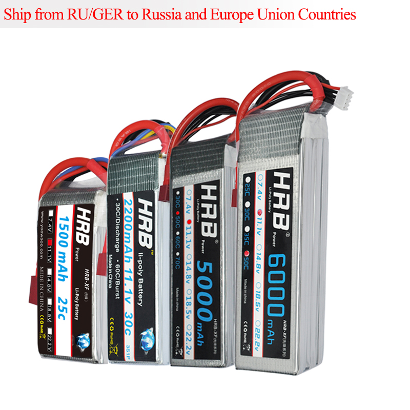 цена на HRB Lipo 3S FPV 450 500 Battery 11.1V 1500mAh 2200mAh 5000mAh 6000mAh 25C 30C 50C for Trex-450 Fixed-wing Helicopter Quadcopter