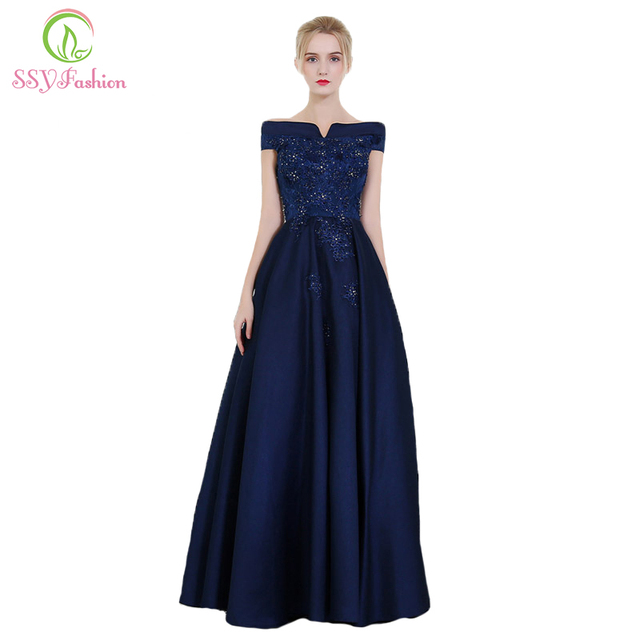 SSYFashion New High-end Silk and Satin Evening Dress The Bride Banquet  Elegant Navy Blue Lace Appliques Long Party Formal Gown fe1ef67ebeba
