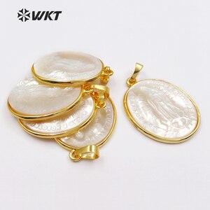 Image 2 - WKT классический Кулон овальной формы в религиозном стиле для изготовления ожерелий, оптовая продажа, с изображением матери и матери