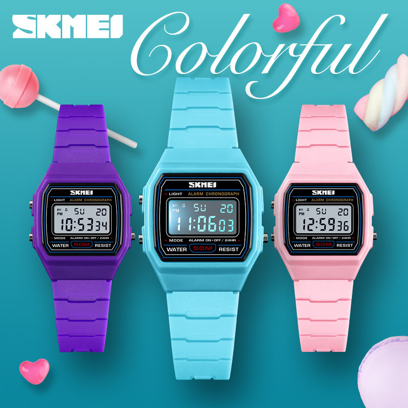 SKMEI Colorful Kids Watch Boys Girls Gift Sport Running Exercise Outdoor Children Wristwatch Water Resistant Digital Clock