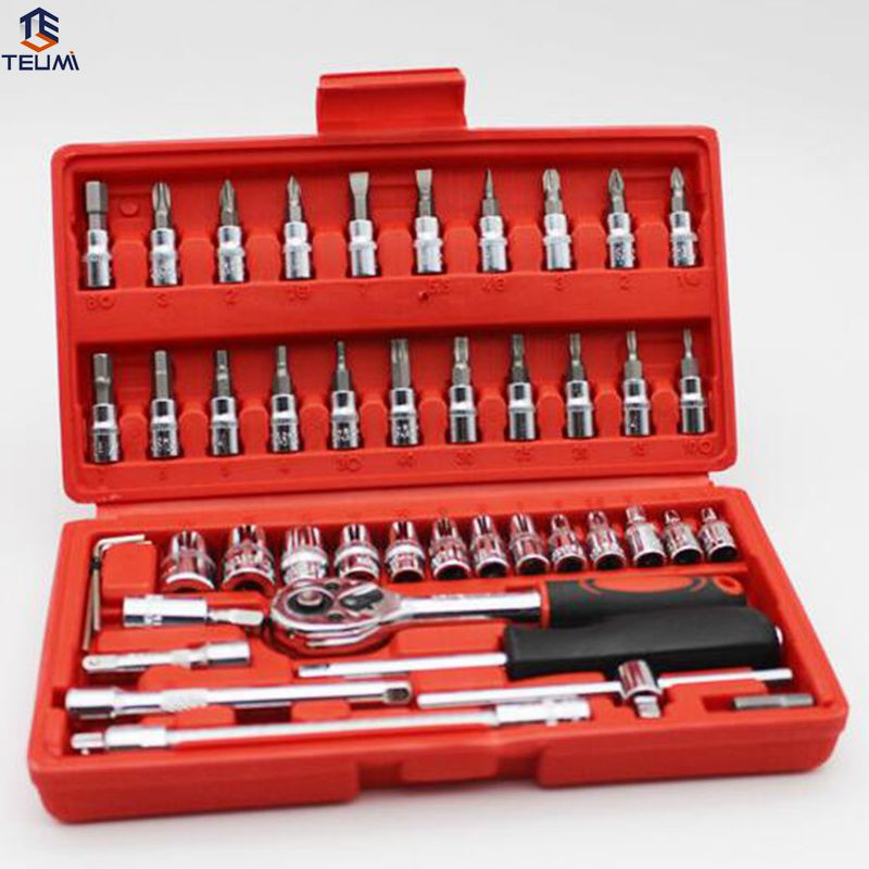 46pcs Ratchet Torque Wrench Ferramentas Auto Repair Tool Socket Set Ferramenta Combination Bit Screwdriver Hand Tool Set For Car car repair tool 46 unids mx demel 1 4 inch socket car repair set ratchet tool torque wrench tools combo car repair tool kit set
