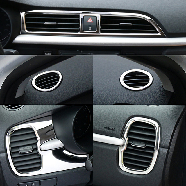 Car Accessories Stainless Steel Interior Upgrade Air Condition Outlet Decoration Circle Cover For Kia Rio K2 4 2017 2018