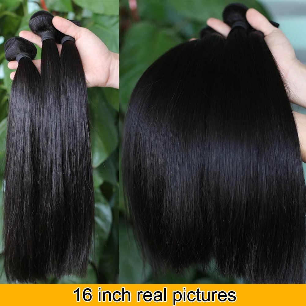 QT Straight Hair Bundles Brazilian Hair Weave Bundles 100% Human Hair Bundles Natural Color Non Remy Hair Weave 1/3/4 Pieces